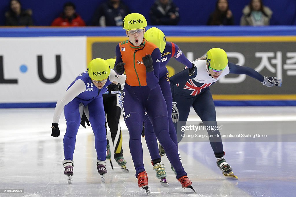Suzanne Schulting of Netherlands celebrates after winning the Ladies 100m Final B during the ISU World Short Track Speed Skating Championships 2016 at Mokdong Icerink on March 12, 2016 in Seoul, South Korea.
