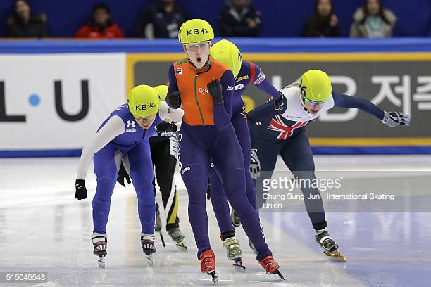Suzanne Schulting of Netherlands celebrates after winning the Ladies 100m Final B during the ISU World Short Track Speed Skating Championships 2016...