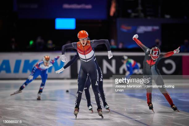 Suzanne Schulting of Netherlands celebrates in the Ladies 1500m final during day 2 of the ISU World Short Track Speed Skating Championships at...