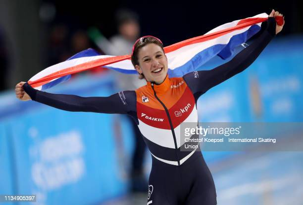 Suzanne Schulting of Netherlands celebrates winning the 3000 meter ladies superfinal of the ISU World Short Track Speed Skating Championships Day 3...