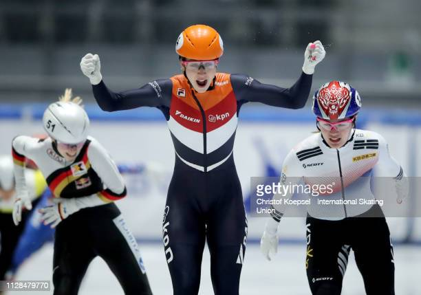 Suzanne Schulting of Netherlands celebrates winning the ladies 1500 meter final A during the ISU Short Track World Cup Day 1 at Tazzoli Ice Rink on...