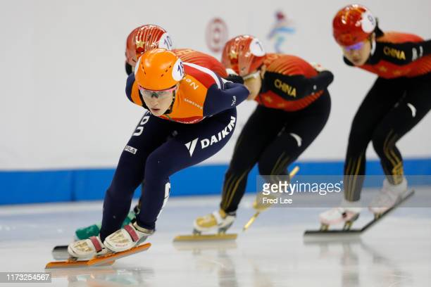 Suzanne Schulting of Netherlands competes in the Ladies 1000m final duirng the 2019 Shanghai Trophy at the Oriental Sports Center on October 3, 2019...