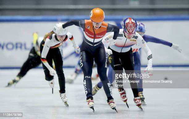 Suzanne Schulting of Netherlands crosses as first the finish line during the ladies 1500 meter final A during the ISU Short Track World Cup Day 1 at...
