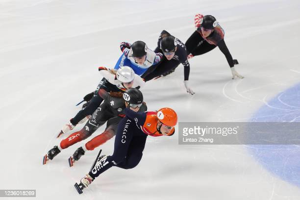 Suzanne Schulting of Netherlands leads the pack in the Ladies 1500m quarterfinals during the day one of ISU World Cup Short Track at Beijing Capital...