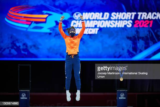 Suzanne Schulting of Netherlands poses in the Ladies 500m medal ceremony during day 2 of the ISU World Short Track Speed Skating Championships at...