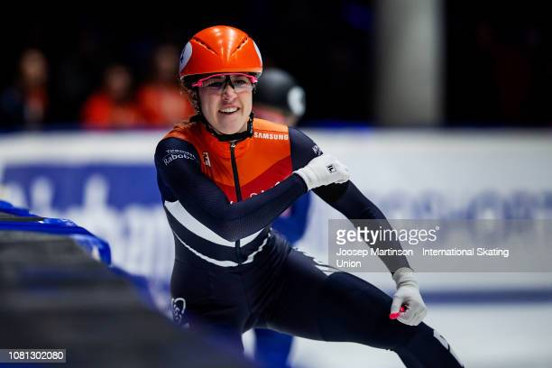 Suzanne Schulting of Netherlands reacts after finishing first in the Ladies 1500m final during the ISU European Short Track Speed Skating...