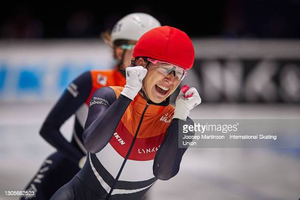 Suzanne Schulting of Netherlands reacts after winning the Ladies 500m final during day 2 of the ISU World Short Track Speed Skating Championships at...