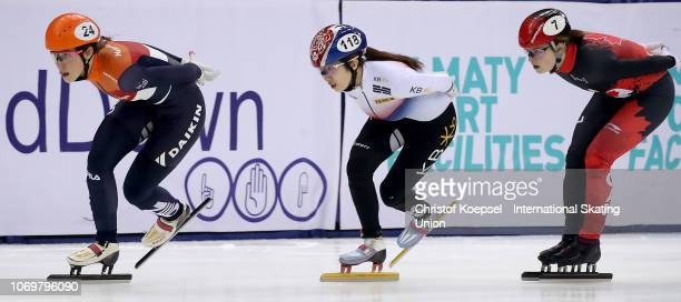 Suzanne Schulting of Netherlands skates in front of the ladies 1000 meter final A race during the ISU Short Track World Cup Day 1 at Halyk Arena on...