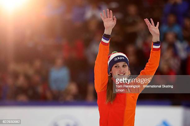 Suzanne Schulting of the Netherlands celebrates after winning silver in the Ladies 1000 meter Afinal during the ISU World Cup Short Track Speed...