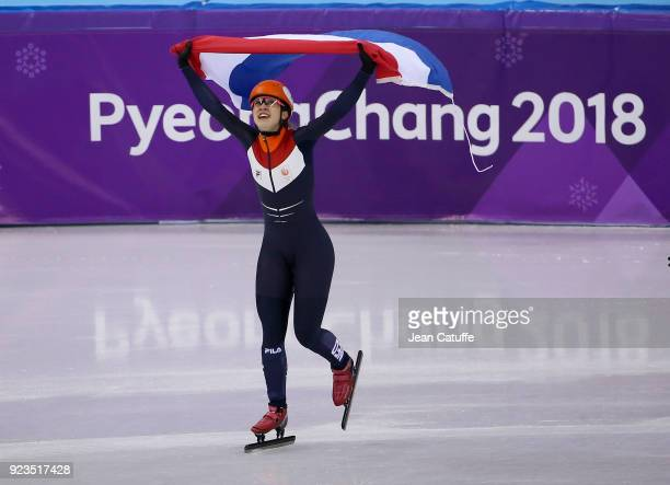 Suzanne Schulting of the Netherlands celebrates her victory following the Short Track Speed Skating Women's 1000m Final A on day thirteen of the...