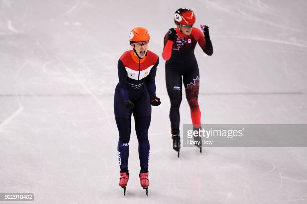 Suzanne Schulting of the Netherlands celebrates winning gold in the Ladies' 1000m Short Track Speed Skating Final A on day thirteen of the...