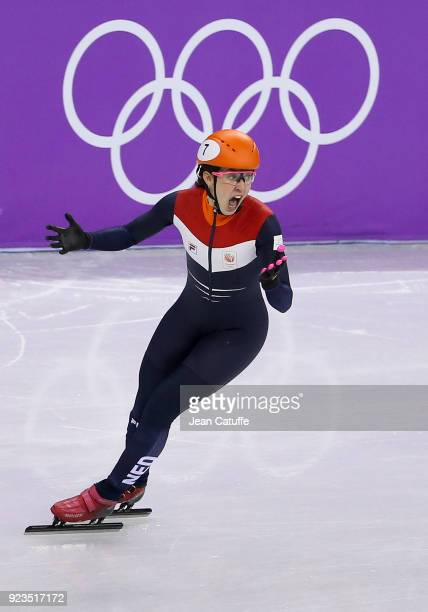 Suzanne Schulting of the Netherlands competes and wins during the Short Track Speed Skating Women's 1000m Final A on day thirteen of the PyeongChang...