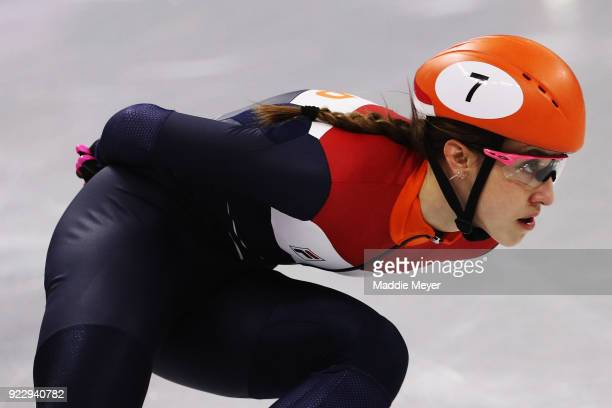 Suzanne Schulting of the Netherlands competes during the Short Track Speed Skating Ladies' 1000m Final A on day thirteen of the PyeongChang 2018...