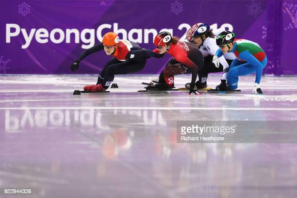 Suzanne Schulting of the Netherlands leads during the Short Track Speed Skating Ladies' 1000m Final A on day thirteen of the PyeongChang 2018 Winter...