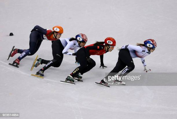 Suzanne Schulting of the Netherlands Sukhee Shim of South Korea Chunyu Qu of China and Minjeong Choi of South Korea during the Short Track Speed...