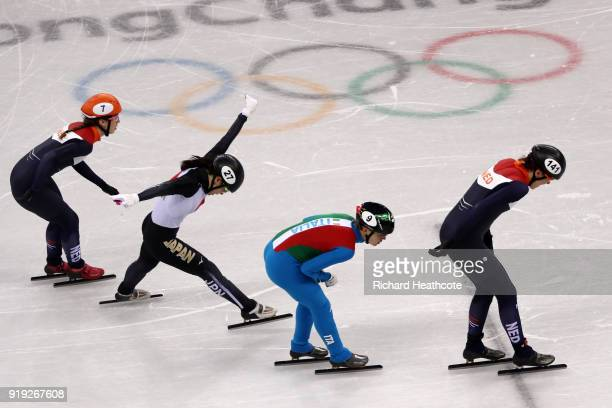 Suzanne Schulting of the Netherlands Sumire Kikuchi of Japan Arianna Fontana of Italy and Jorien ter Mors of the Netherlands compete during the Short...