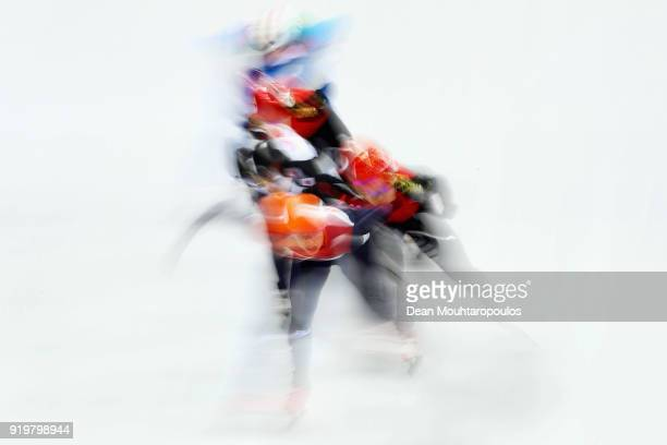 Suzanne Schulting of the Netherlands Yutong Han of China Yang Zhou of China Sumire Kikuchi of Japan Martina Valcepina of Italy compete during the...