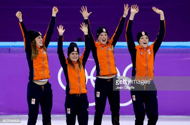 Suzanne Schulting Yara van Kerkhof Lara van Ruijven and Jorien Ter Mors of Netherlands celebrate their bronze medal in Short Track Speed Skating...