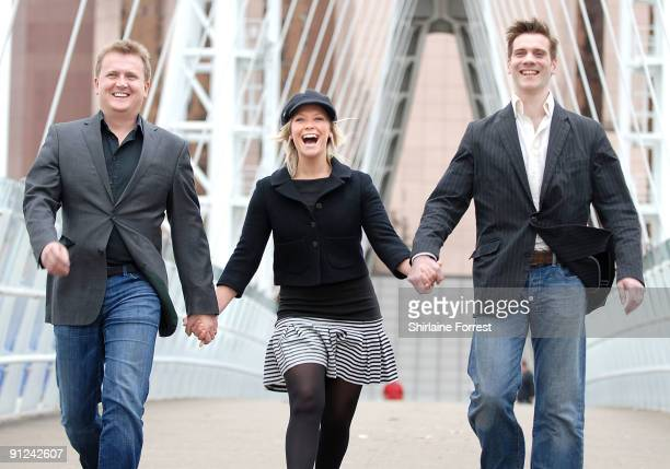 Suzanne Shaw Aled Jones and Adam Cooper attend photocall to launch White Christmas The Musical at The Lowry on September 29 2009 in Manchester England