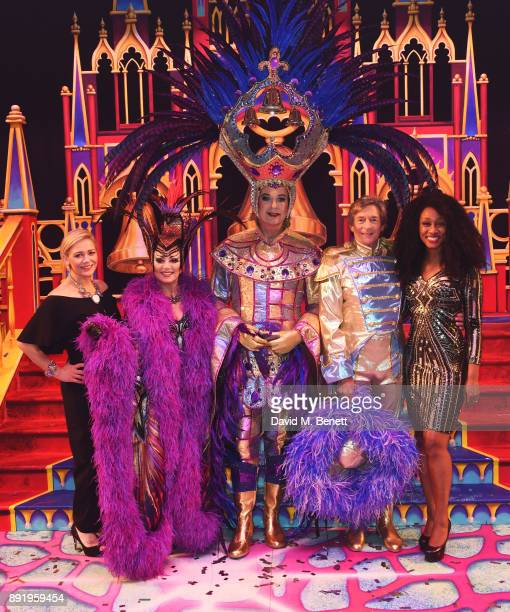 Suzanne Shaw Elaine Paige Julian Clary Nigel Havers and Beverley Knight backstage folowing the performance of 'Dick Whittington' at The London...