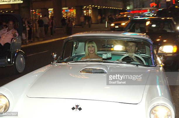 Suzanne Somers arrives in a 1957 Thunderbird to her Broadway Debut Party for her new play The Blonde In The Thunderbird at Bolzano's on July 16 2005...