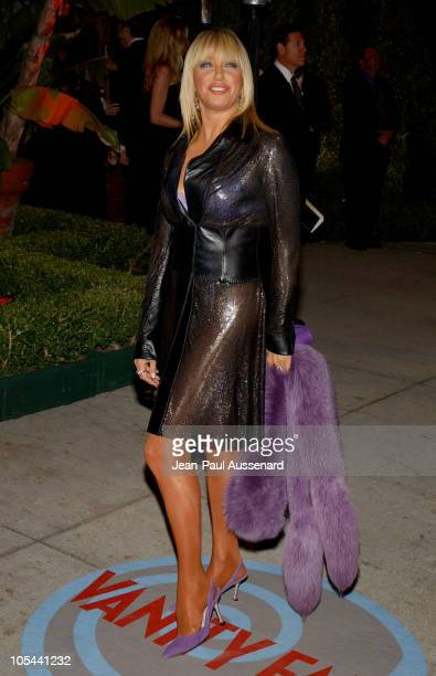 Suzanne Somers during 2004 Vanity Fair Oscar Party Arrivals at Mortons in Beverly Hills California United States