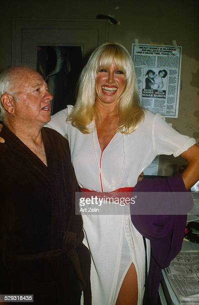 Suzanne Somers with Mickey Rooney backstage at Sugar Babies circa 1970 New York