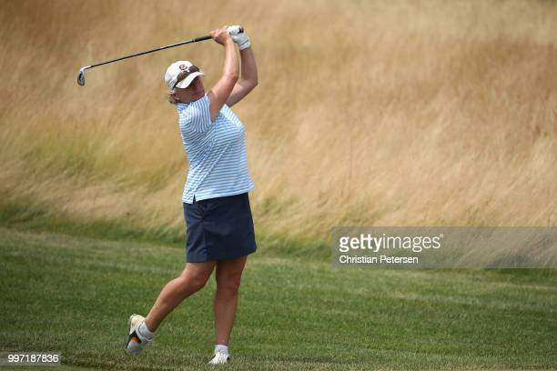 Suzanne Strudwick of England plays her second shot on the eighth hole during the first round of the US Senior Women's Open at Chicago Golf Club on...