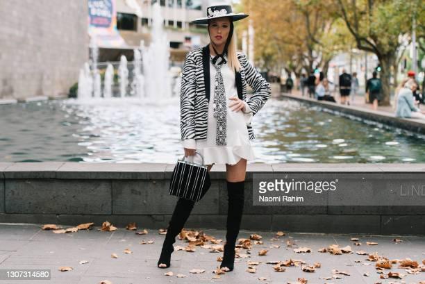 Suzanne Suzette at Melbourne Fashion Festival at National Gallery of Victoria on March 15, 2021 in Melbourne, Australia.
