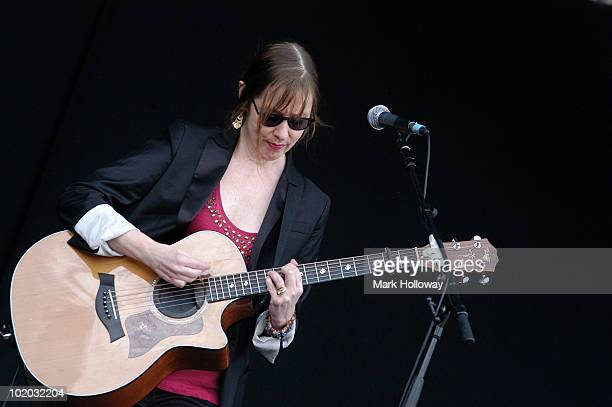 Suzanne Vega performs on stage on the last day of Isle of Wight Festival at Seaclose Park on June 13 2010 in Newport Isle of Wight