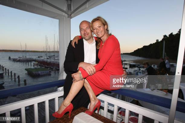 Suzanne von Borsody and Jens Schniedenharn attend the anniversary party at the ARosa Golfclub Scharmuetzelsee on April 30 2011 in Bad Saarow Germany...