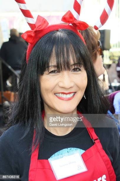 Suzanne Whang is seen at the Los Angeles Mission's Christmas Celebration on Skid Row on December 22, 2017 in Los Angeles, California.