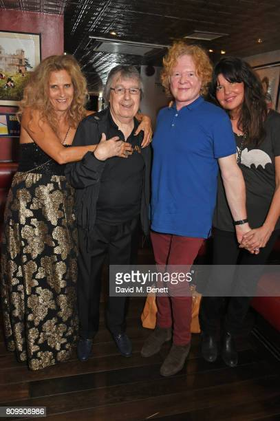 Suzanne Wyman Bill Wyman Mick Hucknall and Gabriella Wesberry attend Sticky Fingers' 28th Birthday hosted by Bill Wyman on July 6 2017 in London...
