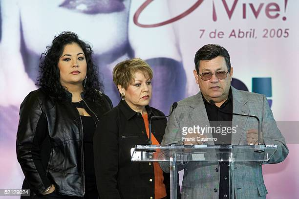 Suzette and Marcela Quintanilla listen as Abraham Quintanilla speaks during the 'Selena Vive' press conference February 3 2005 in Houston Texas