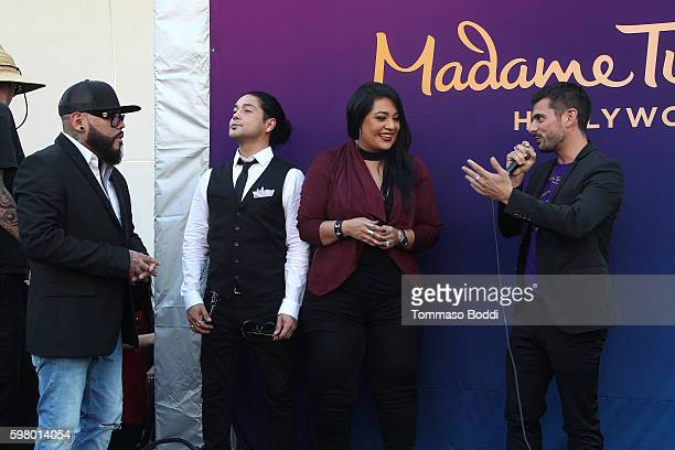 Suzette Quintanilla, A.B. Quintanilla and Chris Perez attend the Madame Tussauds Hollywood Unveils A Wax Figure Of Selena Quintanilla at Madame...