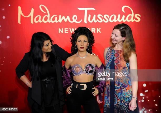 Suzette Quintanilla and Anna Domingo attend the Madame Tussauds New York unveiling of singer Selena Quintanilla's figure in Times Square at Madame...