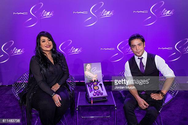 Suzette Quintanilla and Chris Perez during a press conference before the MAC Selena World Premiere at American Bank Center on September 29, 2016 in...