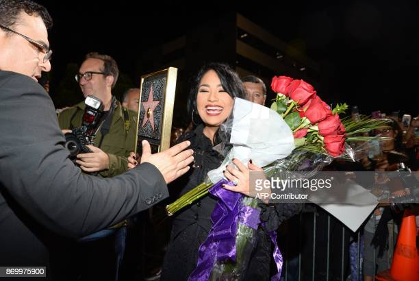 Suzette Quintanilla attends the ceremony honoring her late sister singer Selena Quintanilla with a Star on the Hollywood Walk of Fame on November 3...
