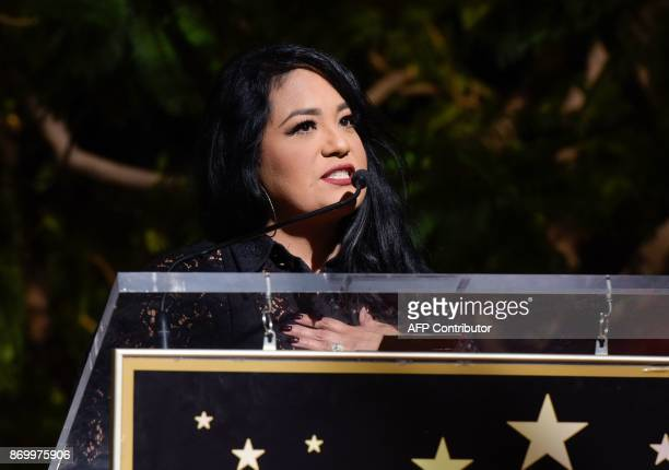 Suzette Quintanilla attends the ceremony honoring her late sister, singer Selena Quintanilla, with a Star on the Hollywood Walk of Fame on November 3...