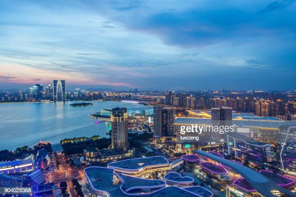 suzhou industrial park night - suzhou stock pictures, royalty-free photos & images