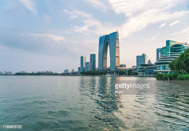 suzhou jinjihu financial district against sky - suzhou stock pictures, royalty-free photos & images