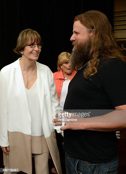 Suzi Cochran chats with Singer/Songwriter Jamey Johnson during the 2014 Country Music Hall Of Fame Inductees Announcement at the Country Music Hall...