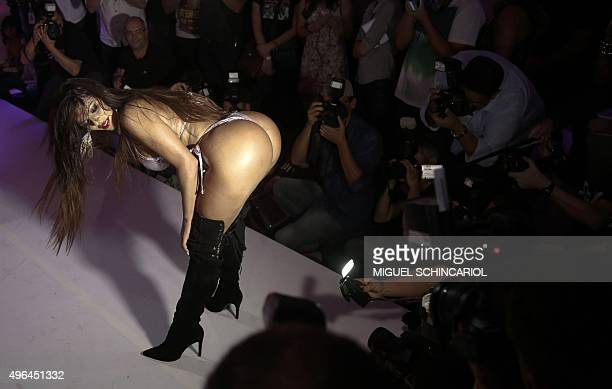 Suzi Cortez from Distrito Federal state performs during the Miss Bumbum Brazil 2015 pageant in Sao Paulo Brazil on November 9 2015 Fifteen candidates...