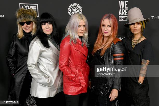 Suzi Gardner Demetra Plakas Donita Sparks Jennifer Finch of music group L7 and Linda Perry attend The Art Of Elysium's 13th Annual Celebration Heaven...