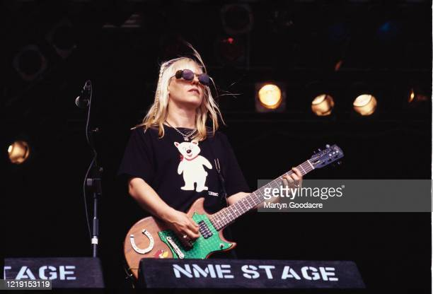 Suzi Gardner of L7 performs on stage at Glastonbury Festival, United Kingdom, 1994.