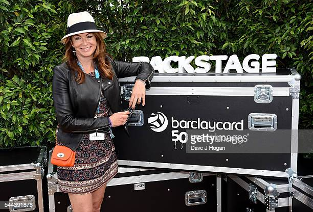 Suzi Perry in the VIP area at the Barclaycard Presents British Summer Time Festival in Hyde Park on July 3 2016 in London England
