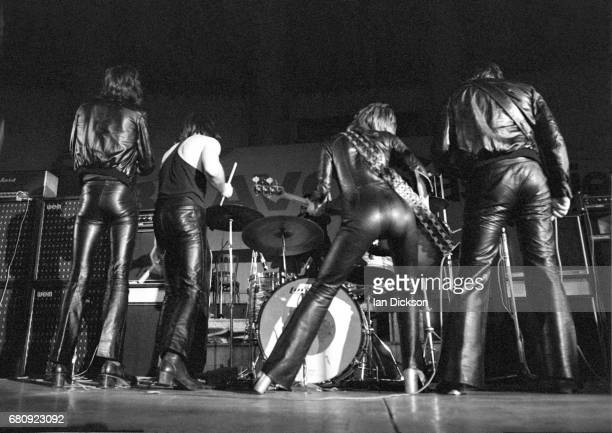 Suzi Quatro performing on stage with her band United Kingdom 1974