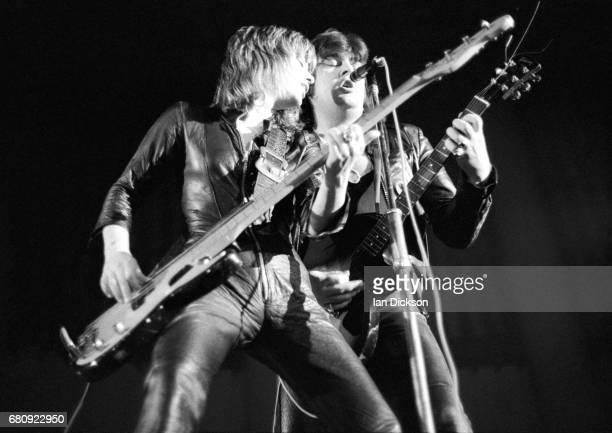 Suzi Quatro performing on stage with Len Tuckey United Kingdom 1974