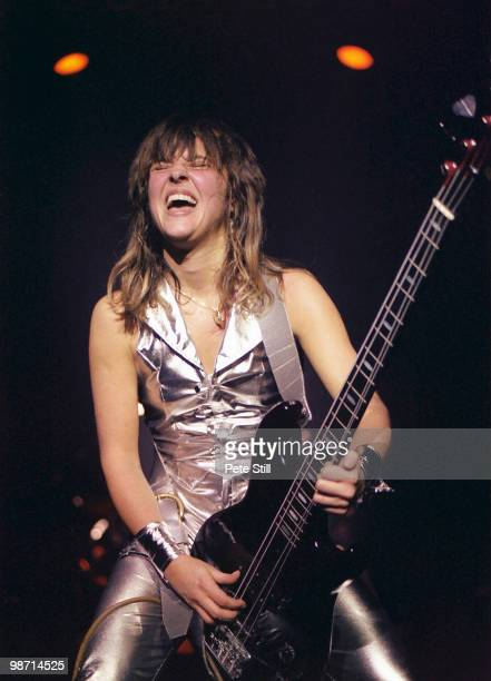 Suzi Quatro performs on stage at Hammersmith Odeon on November 2nd 1978 in London England