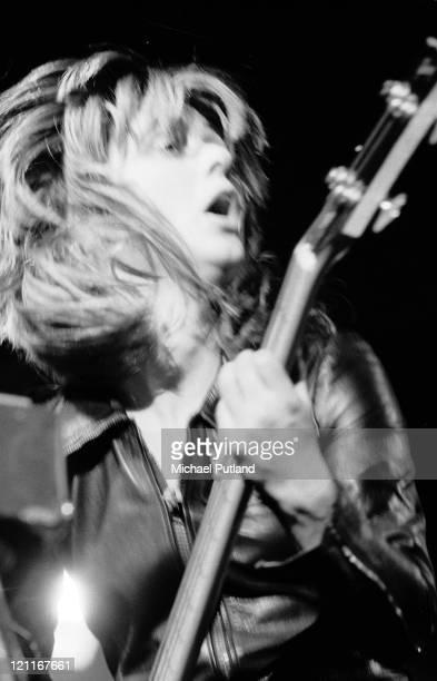 Suzi Quatro performs on stage London 1975